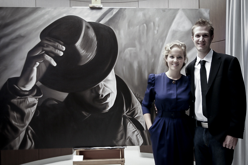 Artist Alex Scott with Erika Christensen