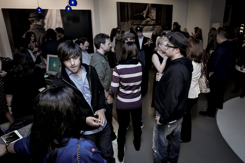 vew of guests at artist Alex Scott art show